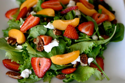 Strawberry Goat Cheese Salad with Apricots & Pecans