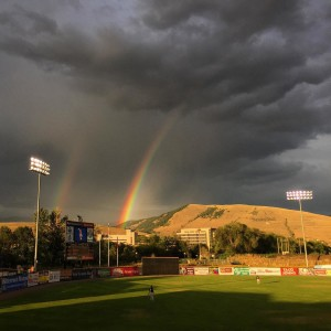 Amazing rainbow at the game tonight ospreybaseball milb