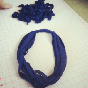 fabric strips for recycled tshirt necklace