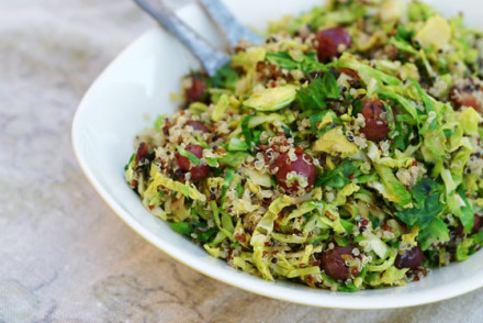 Sweet & Savory Brussels Sprouts with Quinoa via InspiredRD.com #glutenfree