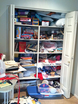 messy craft closet