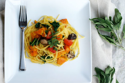 Pasta with butternut squash in a lemon butter sauce