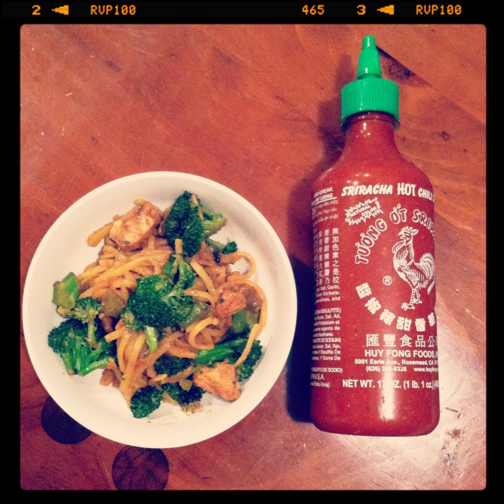 peanut butter pasta with sriracha