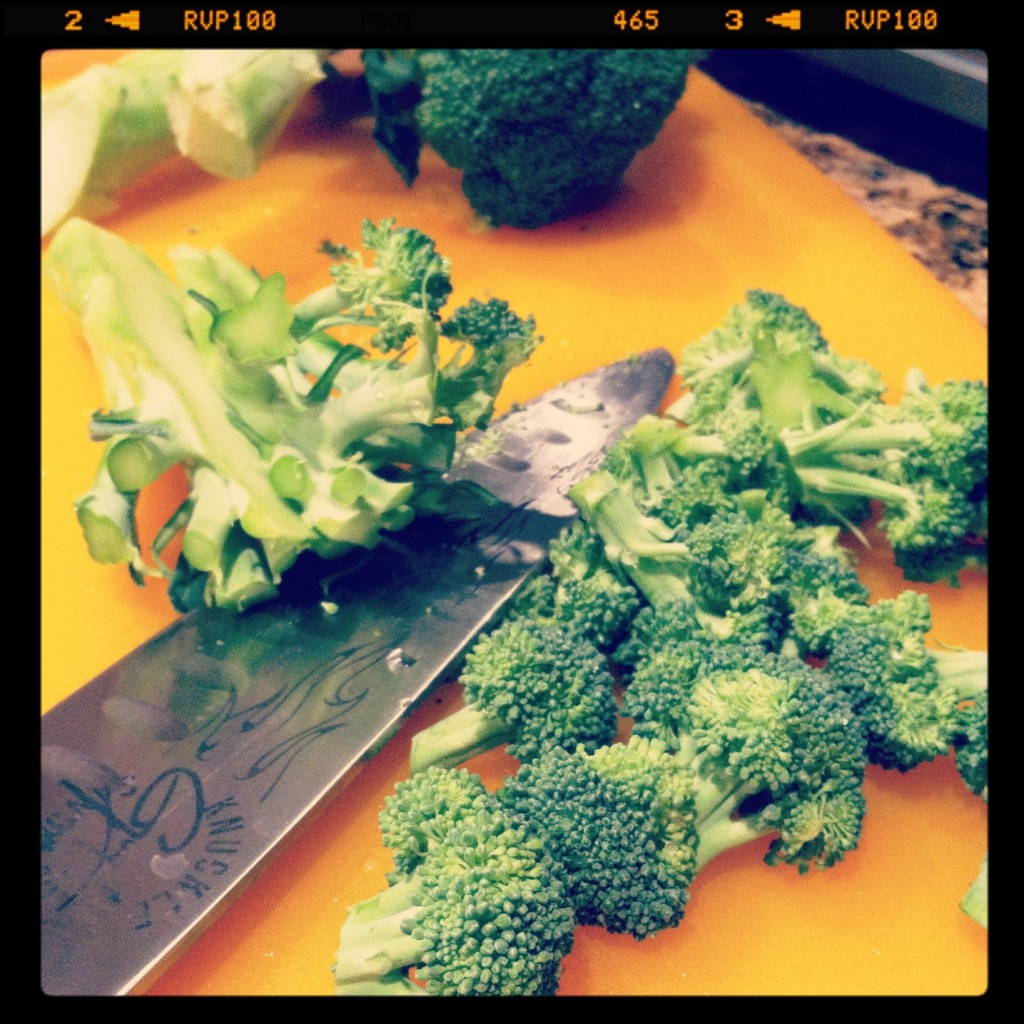 chopping broccoli for stir fry