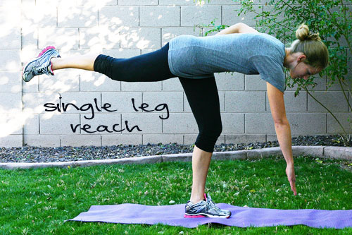 single leg reach exercise