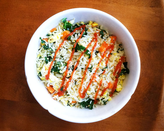 fried rice with kale and carrots
