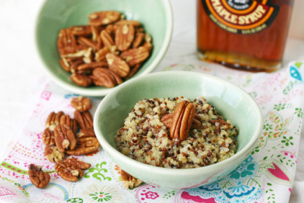Maple Pecan Coconut Quinoa Breakfast via InspiredRD.com #glutenfree