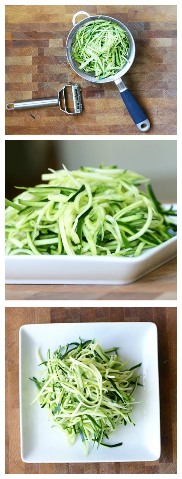 How to make Zucchini Noodles without a spiralizer. These are fast, easy, and naturally gluten-free!