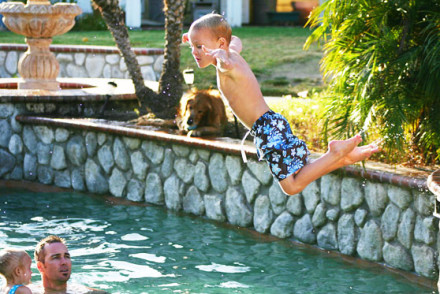 flying leap into the pool