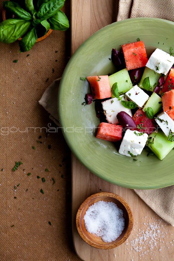 Watermelon, Heirloom Tomato and Feta Salad from Gourmande in the ...