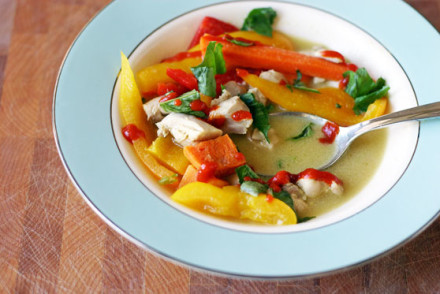 Chicken Coconut Curry Soup with Basil and Sriracha from InspiredRD.com #glutenfree