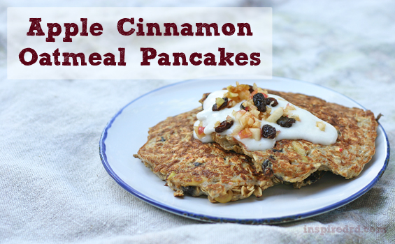 Apple Cinnamon Oatmeal Pancake from InspiredRD.com #glutenfree