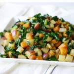 Quick Kale Saute with Potatoes and Butternut Squash from www.InspiredRD.com