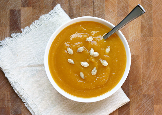 Butternut Squash Soup with Ginger Toasted Seeds from InspiredRD.com #glutenfree #dairyfree #RecipeReDux