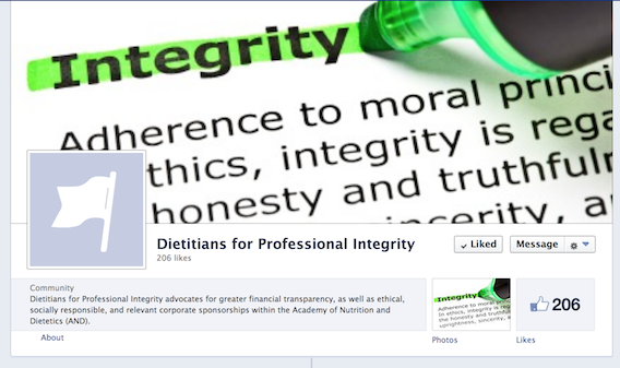 Dietitians for Professional Integrity Facebook group