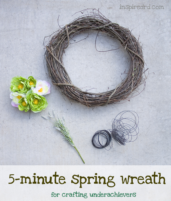 5 minute spring wreath tutorial (for crafting underachievers) via InspiredRD.com
