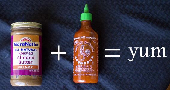 Almond Butter + Sriracha = Best Ever Veggie Dip from InspiredRD.com