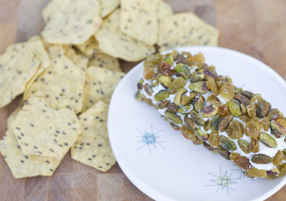 Quick Appetizer Idea: Goat Cheese with Pistachios and Golden California Raisins via InspiredRD.com