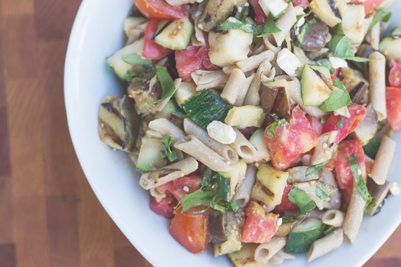 Penne Pasta with Grilled Eggplant and Zucchini from InspiredRD.com #glutenfree