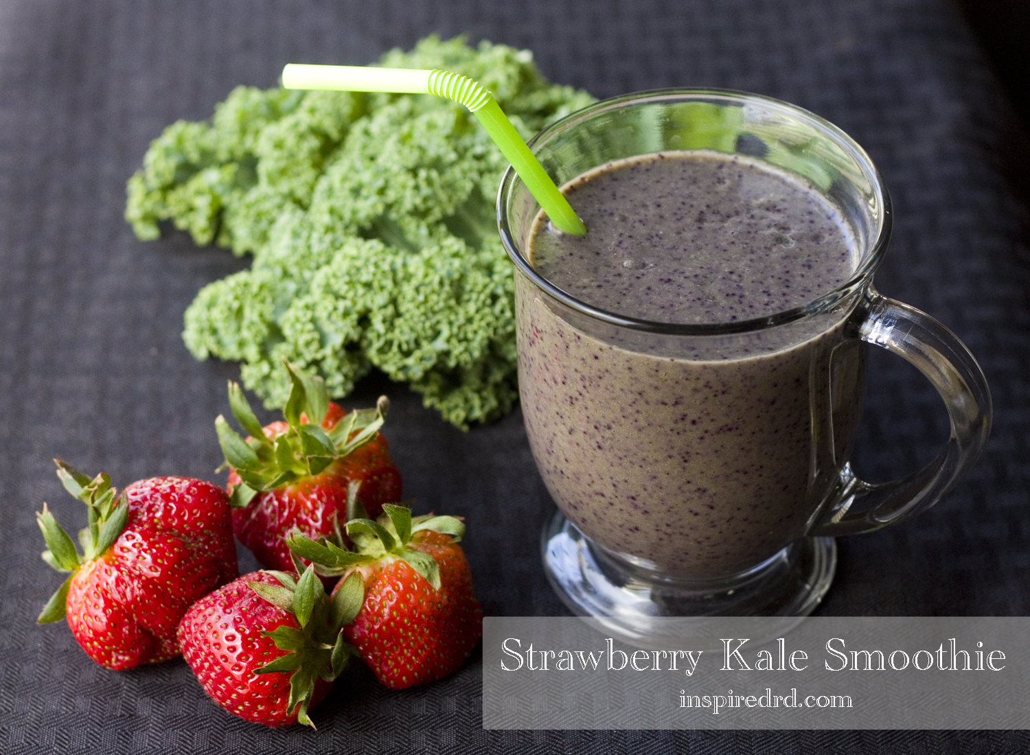 Strawberry Kale Smoothie - Quick and Easy breakfast from InspiredRD.com
