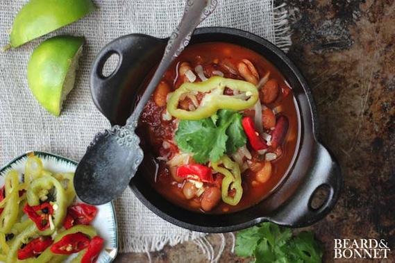 Fire Roasted Slow Cooker Chili (Gluten Free & Vegan) from Beard & Bonnet