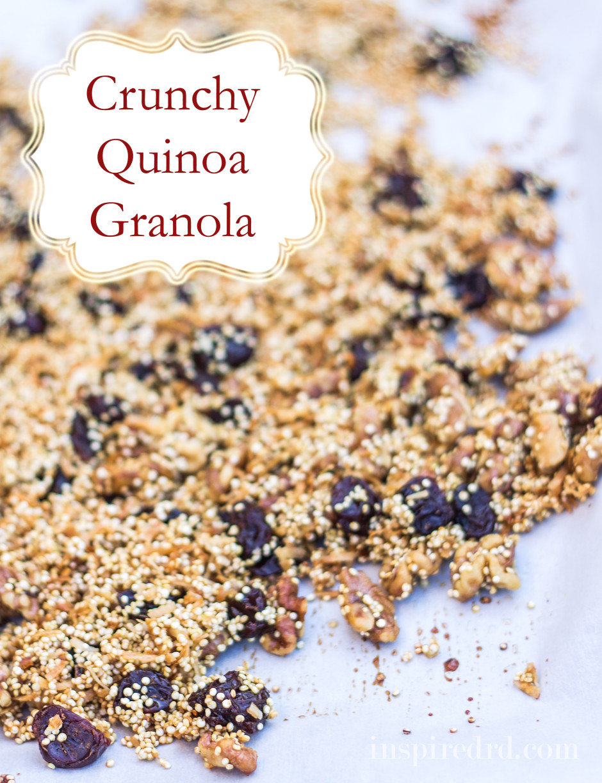 Crunchy Quinoa Granola with walnuts, cherries and coconut. #glutenfree