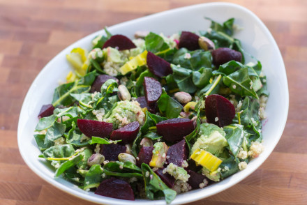 Beet Salad with Quinoa, Swiss Chard, and Avocado | InspiredRD.com #glutenfree
