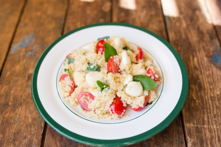 Bursting with flavors of summer! Quinoa Caprese Salad | InspiredRD.com #glutenfree #salad