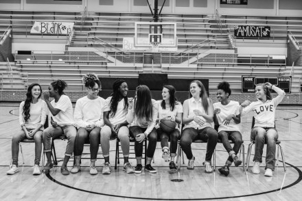 Love this candid shot of this high school basketball team! (Alysa Bajenaru Photography)